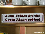 Juan Valdez drinks Costa Rican coffee